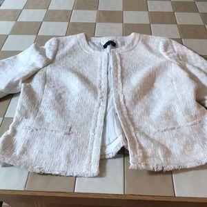 White peplum sleeve blazer